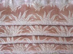 Satin Brocade Curtains Pre-WWII Dusty Rose 73l. x