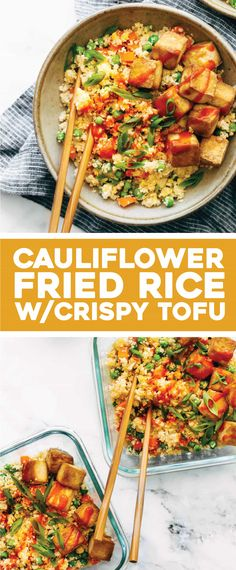 Recipes Snacks Clean Eating 15 Minute Meal Prep - Cauliflower Fried Rice with Crispy Tofu - Pinch of Yum Healthy Meal Prep, Healthy Cooking, Cooking Recipes, Tufo Recipes, Recipe Sites, Healthy Protein, High Protein, Cooking Tips, Healthy Food