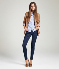 Skinny capri jeans $24.95 with pale blue oxford and tan blazer