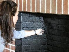Painting over old brick fireplace for a quick/cheap update - from DIY network