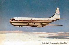 BOAC Stratocruiser Speedbird postcard 1958