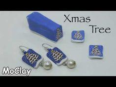 DIY  Christmas Tree earrings - Polymer clay cane - YouTube