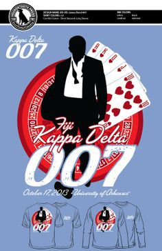 "University of Arkansas Kappa Delta ""007"" Function T-Shirt #LoveTheLab #TheHoundstoothPress #ScreenPrinting #CustomDesigns #SororityShirts #TshirtIdeas #Embroidery #ComfortColors"