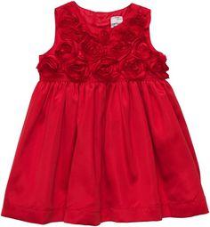 Carter's Satin Dress w/ Rosettes - Red-NB