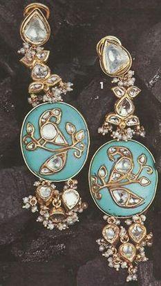 Kundan turquoise earrings