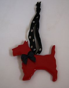 Red polymer clay scottie dog Christmas by albertinebelle on Etsy, £3.50