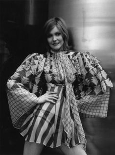 Jil Garraway in Ossie Clark Moon Turn The Tides Blouse, photographed by Bob Aylott, 1969 rock n roll vintage fashion style late early British designer mini dress tunic puff sleeves gown stripes Seventies Fashion, 70s Fashion, Fashion Prints, Vintage Fashion, Fashion Blogs, Ossie Clark, Celia Birtwell, Vintage Dresses, Vintage Outfits