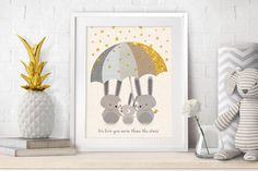 "Nursery Art, Nursery Decor, Baby Woodland Decor, Nursery Neutral Decor, Baby Gift, Nursery Prints, Bunny Art, Mint Wall Art, New Baby Gift.  ❥ This beautiful and genuine handmade Nursery Art Print features a cute Bunny family illustration, on an Ivory and Gold, delicately textured background, accompanied with an Inspirational quote: We love you more than the stars"" - Perfect as a New Baby gift! This Adorable print is a part of the woodland animals series by BaronPrints - a link to which…"