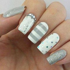 Looking for silver nail ideas? From Metallic to stripes to glitter nails, discover your favorite silver nail art with our list of the top 30 silver nail designs Nail Art Designs 2016, Silver Nail Designs, Fabulous Nails, Gorgeous Nails, Cute Nail Art, Cute Nails, Nagel Gel, Creative Nails, Trendy Nails