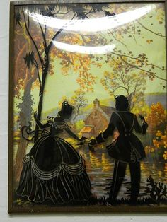 Victorian Reverse Paintings Couple Romance by TheIDconnection, $59.00