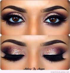 Gold and burgundy eye makeup with black details