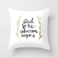 Throw Pillows featuring The Adventure Begins by Tangerine-Tane