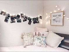 Pictures on twinkle lights! Super easy to do and super cute! #CedarvilleUniversity #dormroom #dorms