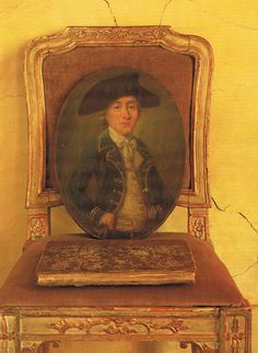 Early 18th century portrait on 18th century Italian chair trouvais