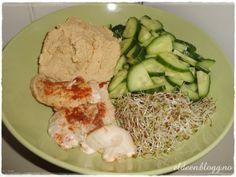Indrefilet av kylling, alfalfaspirer, agurk og hummus. (~Eldeen~)