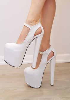 d9cb2a75631 White Classic Ankle High Heel Platform Shoes. Very Comfy and Attractive Big  sizes ...