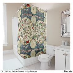 Shop CELESTIAL MAP shower Shower Curtain created by lycheerose. Durable, Full Color Printing, Powder Room, Shower Curtain, Custom Shower, Printed Shower Curtain, Tub, Curtains, Vintage Shower Curtains