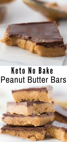 Diet Recipes Peanut Butter meets creamy chocolate in these No Bake Keto Peanut Butter Chocolate Bars to create a mouthwatering delicious treat! Dessert Sans Four, Dessert Ig Bas, Oreo Dessert, Dessert Chocolate, Keto Fat, Low Carb Keto, Low Carb Desserts, Low Carb Recipes, Lamb Recipes