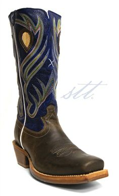 New to STT -- Twisted X Men's Blue Ruff Stock Square Steel Toe Boots | These Twisted X® men's Ruff Stock boots have a vibrant blue shaft that is embroidered with multi-colored stitching | SouthTexasTack.com