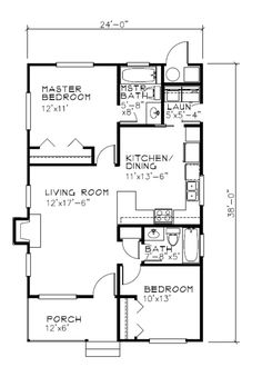 Lop off front bed/bathroom* Cottage Style House Plan - 2 Beds 2 Baths 838 Sq/Ft… Cottage Style House Plans, Shop House Plans, Cottage House Plans, Country House Plans, Small House Plans, Cottage Homes, Shop Plans, Country Homes, Cabin Floor Plans