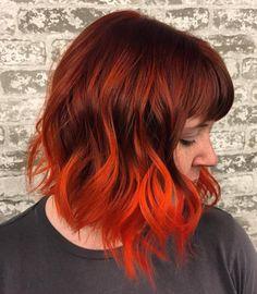 Auburn Hair With Orange Balayage