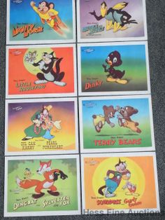 Set of 8 1940s 20th Century Fox Terry Toon Cartoon Animation Theatre Lobby Cards