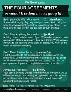 Four Agreements Handout - One of the best reads! www.amplifyhappinessnow.com #4agreements #happinessnow #joy