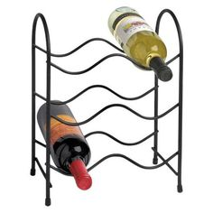 The Wine Bottle Holder comes in a black powdered coated finish - hold up to six bottles of wine - rubber tipped feet reduce scuffs and scraps Wine Rack Cabinet, Wine Racks, Standing Coat Rack, Wine Bottle Holders, Bar Accessories, Wine Storage, Storage Organization, Storage Ideas, Staying Organized
