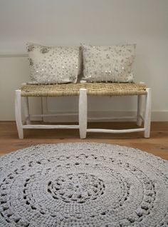 crocheted rug - just stunning. My mother use to make these. She would do 2, then crochet together to make them thicker.