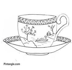 Padrão de bordado à mão livre de uma xícara de chá