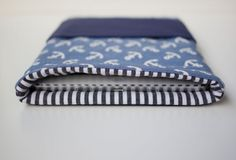 iPad mini Tasche -  Baumwolle & Leder mit Ankern von MoinMoni auf DaWanda.com