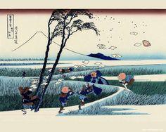 Travellers Caught in a Sudden breeze at Ejiri. Katsushika Hokusai. ca. 1832