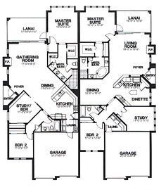 Multi-Family Plan 58965 - One-Story, Tudor Style Multi-Family Plan with 3465 Sq Ft, 2 Bed, 2 Bath, 2 Car Garage Family House Plans, Country House Plans, Best House Plans, Small House Plans, Duplex Floor Plans, House Floor Plans, Duplex Design, House Design, Multi Family Homes