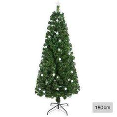 1.8m Fibre Optic Christmas Tree w/ LED Lights & Ornaments 6ft Xmas Tree Multi Colour