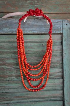 red paper beads