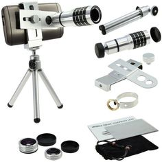 9 Piece Camera Photography Lens Kit:Awesome 4 lensesMount Stand Phone Holder Fo