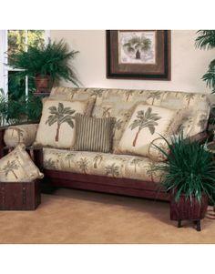 Palm Tree Futon Cover Set - 3 Piece