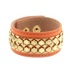 """Leather Cuff Bracelet; 8.75""""L; Gold Hardware; Orange Leather Strap; Double Snap Closure; Eileen's Collection. $39.99"""