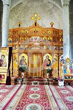 Prislop monastery, ordodox icons on the wall, in Maramures region, historical monument.