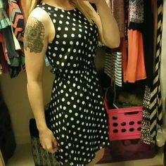 Polka-dot Dress Black and white polka-dot dress from xhilaration. The dress is a small and just flat out adorable. Don't have room in my closet for it anymore. The dress was worn about a handful of times and is in perfect condition. Xhilaration Dresses Midi