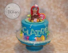 little mermaid inspired cake inspired by another pinterest cake, not sure who to give credit for original design.