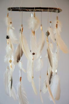 Dreamcatcher Mobile White Gold Silver and Brown by DreamkeepersLLC