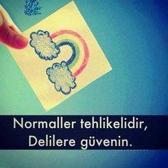 Normaller tehlikelidir, delilere güvenin !...