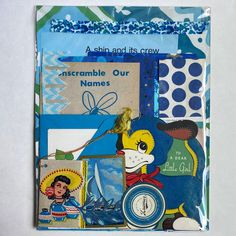 Excited to share this item from my #etsy shop: BLUE Vintage Ephemera for Junk Journals - Collage Fodder