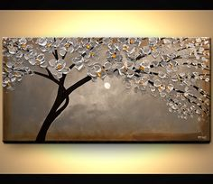 ORIGINAL Abstract Contemporary Silver Blooming by OsnatFineArt, $440.00