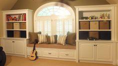 Bonus room window seat & storage built-ins