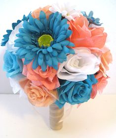 Excited to share the latest addition to my #etsy shop: Wedding Silk flowers Bouquet Bridal CORAL Peach Aqua TURQUOISE DAISY 17 piece package Artificial arrangements Centerpieces RosesandDreams http://etsy.me/2na14Dc #weddings #bouquet #bridalbouquet #weddingflowers
