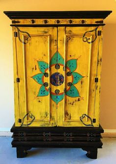 Mexican furniture - rustic and cozy! Beautiful Hand Painted Mexican Cabinet by VagabondStudioSW on Etsy Mexican Furniture, Funky Painted Furniture, Refurbished Furniture, Colorful Furniture, Paint Furniture, Furniture Projects, Furniture Makeover, Cool Furniture, Furniture Design