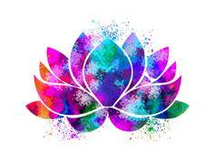 Lotus Flower Yoga Symbol Watercolor Print illustrations Art Print Wall Art…