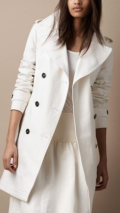 Burberry Brit Mid-Length Oversize Collar Cotton Trench Coat. Trench me please!